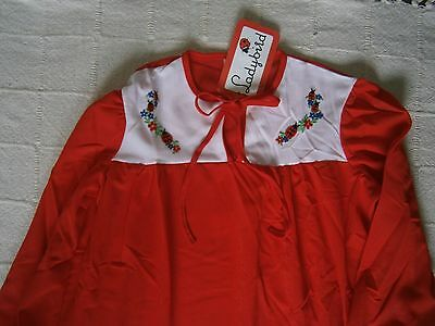 Vintage Ladybird Nightie- Age 10- 140 cm - Red- Brushed nylon -Embroidered -New