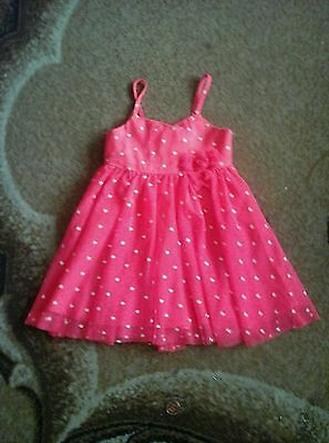 H & M Stunning Girls Neon Pink White Love Hearts Party Dress Aged 2-3 Years