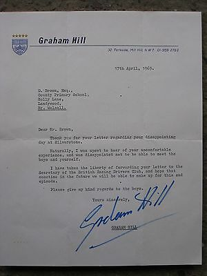 F1 Graham Hill Hand Signed Letter 1969 100% Original  Autograph With Envelope.