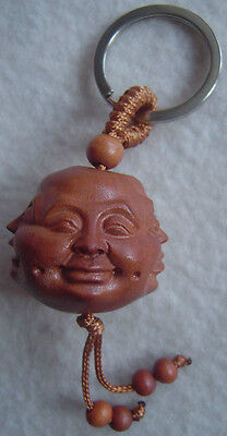 Feng Shui Peach Wood Hapiness,Anger,Grief and Joy Key Ring Chain Amulet