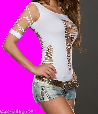WHITE SHRED STYLE STRETCHY STOCKING TOP -Choose size 6-8-10