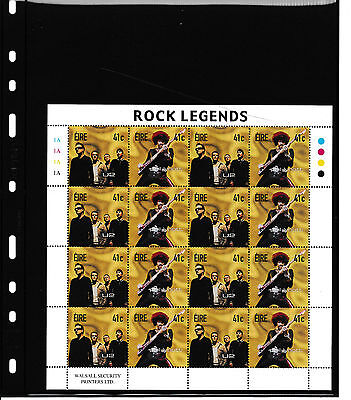 Sheet 16 Stamps Irland Rock Legends 2002 postfrisch U2 / Phil Lynott
