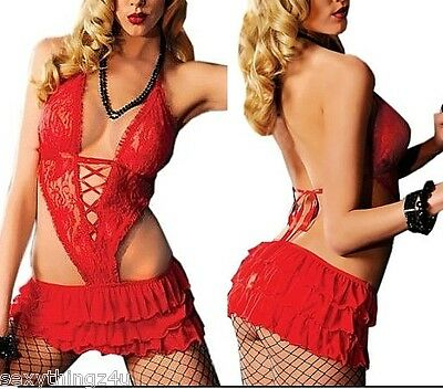 RED SKIRT STYLE LINGERIE CHEMISE - Choose size 8-10-12