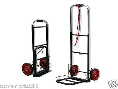 * New Steel Black Two Wheels Convenient Collapsible Shopping Luggage Trolleys .