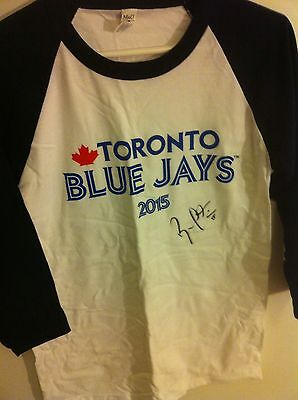 Russell Martin Autographed Official T Shirt In First Day W Blue Jays In Montreal
