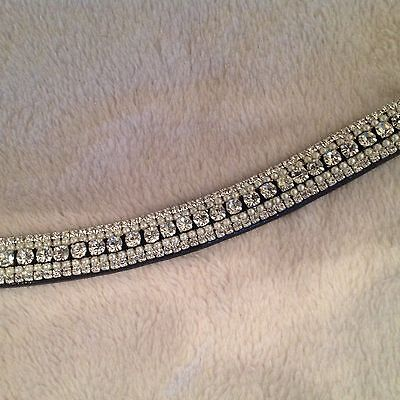 Bling Diamante Dressage Show Browband Clear Crystal/Pearl 5rows - BLACK/BROWN