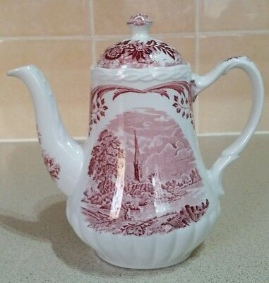 W. H.Grindley Scenes After Constable Pink & White Steeple Fisherman Coffee Pot