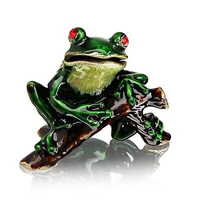 Welforth Pewter Frog on Branch Trinket Box