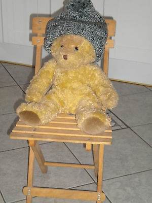 Slatted Wood Folding Chair Ideal Display Item For Collectors Teddy Bear Or Doll