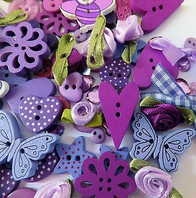 80 LILAC themed Mega Mix of Buttons-Ribbons-Bows-embellishments-cardmaking-craft