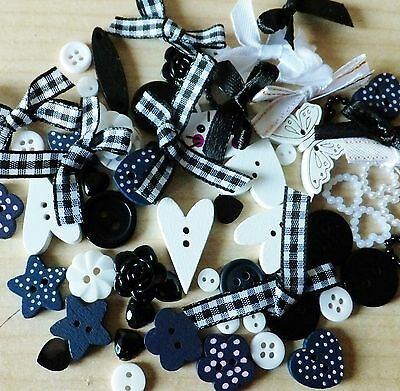 80 BLACK/WHITE themed Mega Mix of Buttons-Bows-embellishments-cardmaking-craft