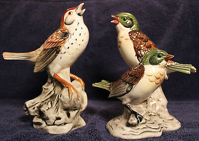 "2 Vintage Bird Figures by Collector's Choice - 7"" Robin and Wood Thrush"