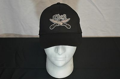 Black Chef Knives Grey Embroidered Chef Cap 100% Cotton