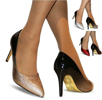 New Ladies Two Tone Patent Party Evening Mid High Heel Court Shoes Size-5561-1