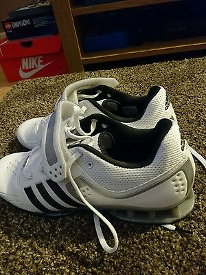 Adidas AdiPower Weightlifting Shoes - White Silver - Size UK8.5