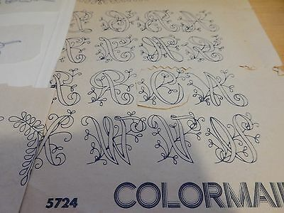 Pack vintage Colormaid iron on transfers, floral decorated alphabet