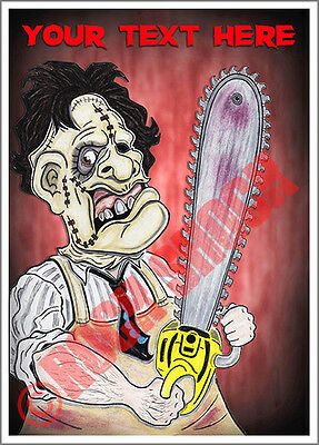 Leatherface Caricature Greeting Card Custom Text Halloween Texas Massacre Horror