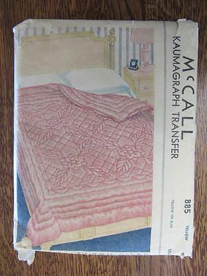 UNCUT Vtg 1940s McCalls KAUMAGRAPH Pattern Embroidery Transfer QUILT Comforter
