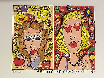 """James Rizzi: original 3D, """"FRUIT AND CANDY"""", FUNNY FACES, handsigniert, 1997"""