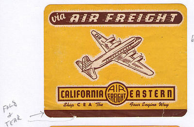 Airline luggage label early California label    #645