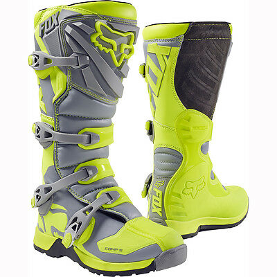 New 2016 Fox Racing Comp 5 Fluorescent Yellow Grey Mx Riding Boots Adult Mens 10