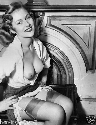 1950s Pinup posing with open blouse and upskirt 8 x 10 Photograph