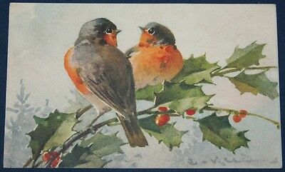 Artist Signed Catherine Klein, Robins & Holly Postcard