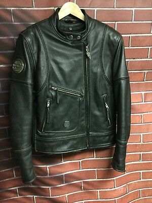 Preowned Women's Size Medium Leather Harley Davidson Motorcycle Jacket w Liner