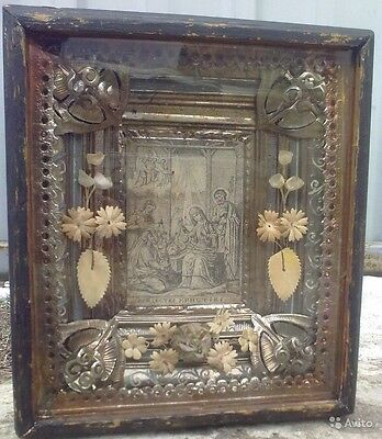 "Antique 19c Russian  Print on Silk Wood Icon ""Nativity"""