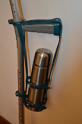 Crutch Bottle Carrier in Blue Leather