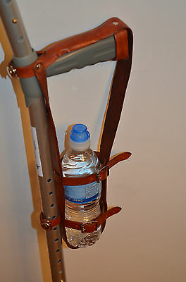 Crutch Bottle Carrier in Brown Leather