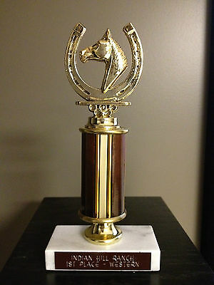 Nos Very Nice Heavy Horse Trophy Solid Marble Indian Hill Ranch