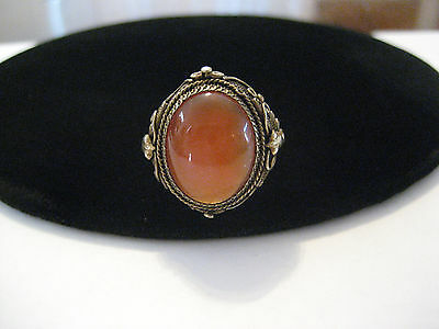 Chinese Export Sterling Oval Carnelian Cabochon Ring