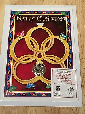 Isle Of Man Silver proof 2009 Christmas 50p pence 5 Gold Rings