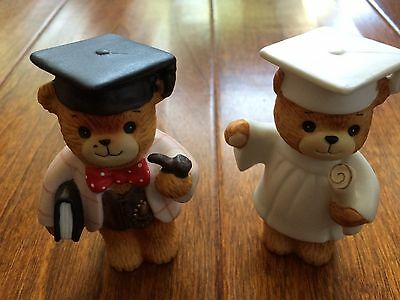 Lot of Enesco Lucy & Me bears porcelain figurines,graduates,hats,tassels,diploma