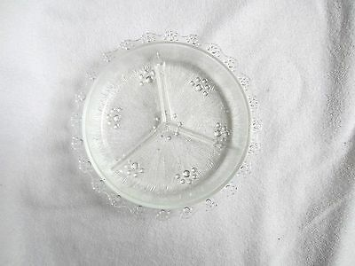 Vintage Clear Divided Glass Relish With Scalloped Edge~Very Nice