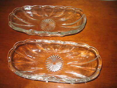 2 Anchor Hocking Fountainware-Clear Glass Banana Split Boat Scallop Starburst