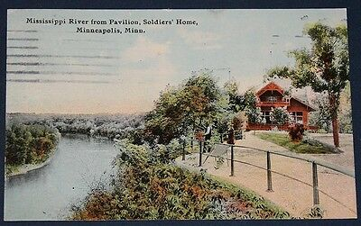 Mississippi River from Pavilion, Soldiers' Home, Minneapolis, MN Postcard 1912