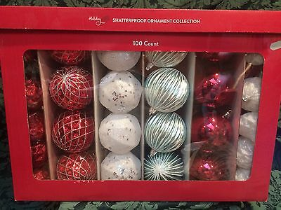 Holiday Shatterproof 100 Ornaments Christmas Red White Blue Silver Glitter NIB