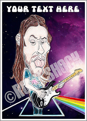 David Gilmour Pink Floyd Caricature Personalised Card Psychedelic Prog Rock 70s