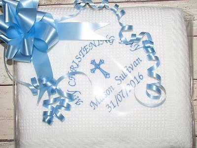 Personalised Christening Baptism Shawl Blanket Embroidered Name Date Gift