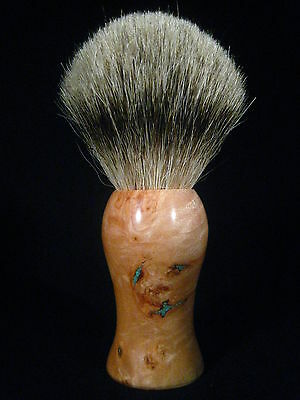 Maple Burl with Turquoise Inlay Silvertip Badger Hair Shaving Brush, 24mm