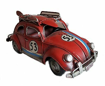 Antique Vintage Style Volkswagen BETTLE CAR TIN PLATE MODEL Large Size In Red