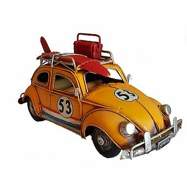 Antique Vintage Style Volkswagen BETTLE CAR TIN PLATE MODEL Large Size In Yellow