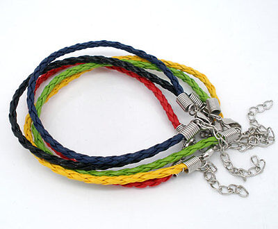 60 NEW 20cm Faux Leather Braided/Plaited Bracelets Jewellery Craft 5 Colours