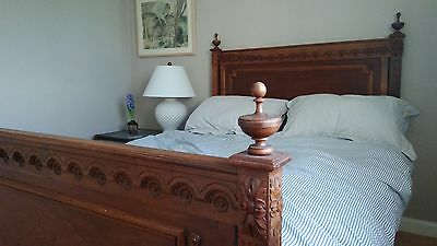 Beautiful Antique French Oak carved Double Bed w/ Head and Foot Board