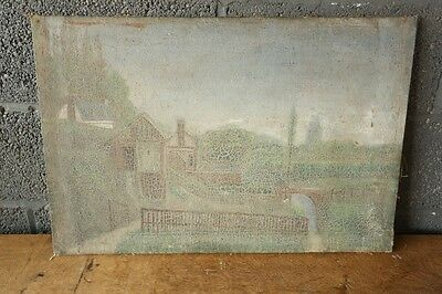 19th Century oil on canvas of a town with heavy distressing