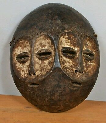 African double face  lega Mask  from  DR of congo
