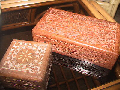 Hand carved decorative wooden boxes