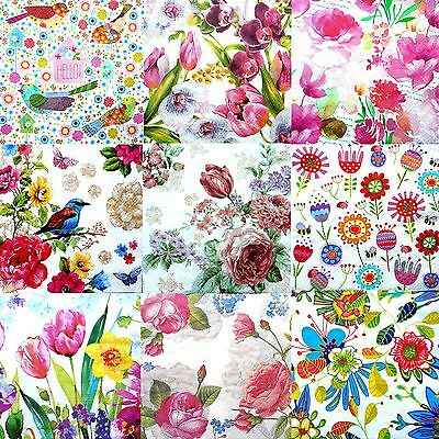Pack of 20 Lunch Table  Paper Napkins Decoupage Decopatch Party Craft  Flowers 2